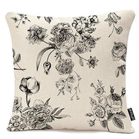 Throw Pillow Cover Vintage Floral with Victorian Bouquet of Black Flowers on Garden Roses Tulips Delphinium Petunia Cotton Linen Pillow Case Home Decor Square 18x18 Inches Pillowcase