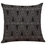 Throw Pillow Cases,Woaills Vintage Black White Simple Square Pillowcase Cushion Covers with Hidden Zipper (ColorE)