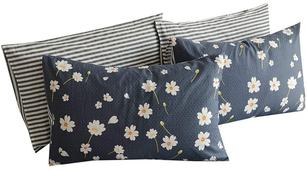 "BuLuTu Vintage Floral Queen Bed Pillowcases Set of 2,Navy Blue Queen Pillow Cases Cotton Soft Stripe Pillow Covers Decorative for Kids Adults Envelope Closure End-Hypoallergenic(2 Pieces,20""×30"")"