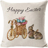 INSHERE Happy Easter Rabbit Egg Throw Pillow Covers Cotton Linen Decorative Cushion Cases,Vintage Truck Cushion Cover, Spring Home Decor, Pack of 4, 18 X 18 Inches (Easter Rabbit 2)