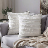 MIULEE Set of 2 Decorative Boho Throw Pillow Covers Cotton Linen Striped Jacquard Pattern Cushion Covers for Sofa Couch Living Room Bedroom 18x18 Inch Off White