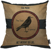 Mugod Crow Throw Pillow Old Crow Feed Egg Mash Vintage Feed Sack Red Brown Black Cotton Linen Square Cushion Cover Standard Pillowcase 18x18 Inch for Home Decorative Bedroom/Living Room/Car