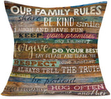 Hopyeer Retro Wood Grain Background Our Family Rules Cotton Linen Throw Pillowcase Personalized Vintage Quote Words Square Cushion Cover Home Office Decorative18 X 18 Inches (Our Family Rules)
