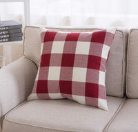 SEEKSEE Set of 2 Buffalo Check Red and White Plaid Throw Pillow Covers Cushion Cover Cotton Linen for Fall Farmhouse Christmas Home Decor, 18 x 18 Inches