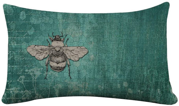 Yilooom Rectangle Pillowcase Cover Vintage Bee Lumbar Pillow Covers Cases 16x26 Inches