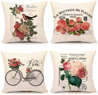 4TH Emotion Spring Retro French Style Throw Pillow Cover Valentine's Day Flowers Cushion Case for Sofa Couch 18 x 18 Inches Cotton Linen Set of 4