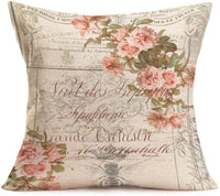 "Hopyeer Retro Postcard Bee Roses Flowers Blooming Outdoor Garden Decorative Throw Pillow Cover Cotton Linen Vintage European Romantic Quote Lettering Sofa Car Cushion Case Cover 18""x18"" (RPR-Bee)"