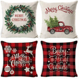 JPF Christmas Pillow Covers 18 × 18 Inch Set of 4 Throw Pillow Cases Slipcovers for Rustic Farmhouse Christmas Decorations