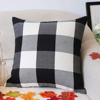 4TH Emotion Set of 2 Farmhouse Buffalo Check Plaid Throw Pillow Covers Cushion Case Cotton Linen for Fall Home Decor Black and White, 18 x 18 Inches