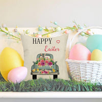 Fahrendom Easter Farmhouse Home Décor Vintage Floral Truck Bunny Sign Decorative Throw Pillow Cover Happy Holiday Spring Decoration Cotton Linen Cushion Case Sofa Couch 18 x 18 in