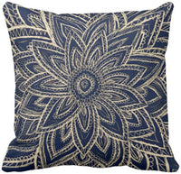 Emvency Throw Pillow Cover Modern Gold Navy Blue Abstract Floral Illustration Decorative Pillow Case Vintage Home Decor Square 18 x 18 Inch Cushion Pillowcase