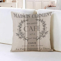 oFloral Throw Pillow Covers Modern Vintage French Cafe Decorative Pillow Case Paris Home Decor Square 18 x 18 Inch Cushion Cotton Linen Pillowcase