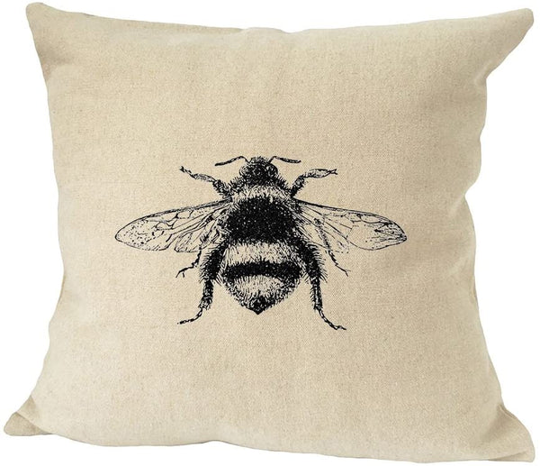Style In Print Bumblebee Vintage Look Sofa Bed Home Decor Faux Linen Pillow Cover (Cover ONLY)