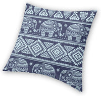 ZHONGH Elephant Decoration Throw Pillow Cushion Covers Vintage Graphic Indian Lotus African Tribal Ethnic Ornament Print Funny Pillows Home Decor Couch Pillowcase 18 Inch 1 Pack