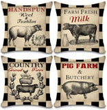 "Faromily Vintage Farmhouse Animal Pillow Covers Black Buffalo Plaids Country Animal Farm Rooster Pig Cow Cotton Linen Throw Pillow Case Cushion Cover 18"" X 18"" Set of 4 Farmhouse Decorations (Black)"