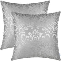 CaliTime Pack of 2 Throw Pillow Covers Cases for Couch Sofa Home Decoration Vintage Damask Floral Shining & Dull Contrast 18 X 18 Inches White