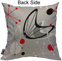 Mugod Atomic Pattern Pillow Cases Vintage Mid Century Geometric Red Grey Black White Throw Pillow Cover Cotton Linen Indoor 18x18 Inch Square Cushion Cover for Office Sofa Couch