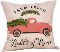 4 Pack Farm Fresh Vintage Truck with Flowers Valentines Pillow Cover Special Delivery Love Heart Trees Bicycle Floral Throw Pillow Case 18x18 Sofa Couch Spring Farmhouse Decoration