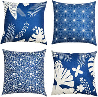 DUSEN Decorative Vintage Floral Bird Throw Pillow Covers for Couch, Sofa, or Bed Set of 4 18 x 18 inch Modern Quality Design Cotton Linen Cusion Cover (Retro Bird)