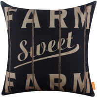 LINKWELL 18x18 inches Vintage Looking Farmhouse Farm Sweet Farm Burlap Pillowcase Throw Cushion Cover (CC1266)
