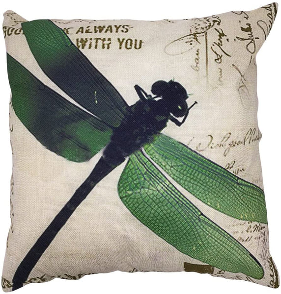 Arundeal 18 x 18 Inch Vintage Green Wings Dragonfly Square Cotton Linen Throw Pillow Cover