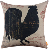 LINKWELL 18x18 inches Vintage Looking Farmhouse Rooster Country Burlap Pillowcase Throw Cushion Cover (CC1263)