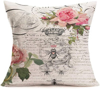 Royalours Throw Pillow Cover Cotton Linen Vintage Bee Flower with Lettering Decorative Pillow Case Home Sofa Cushion Cover Square 18x18 Inches Set of 2 Pillowslip (Bee Flower)