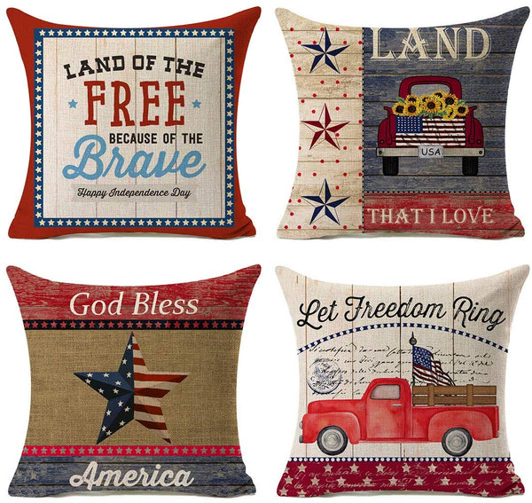 "Kithomer Independence Day American Flag Pillow Covers 4th of July Patriotic Truck Throw Pillow Case Farmhouse Decorative Cushion Cover for Sofa 18"" x 18"" Set of 4 Cotton Linen"