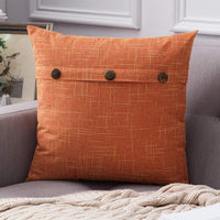 MIULEE Decorative Linen Throw Pillow Covers Cushion Case Triple Button Vintage Farmhouse Pillowcase for Couch Sofa Bed 18 x 18 Inch 45 x 45 cm Orange