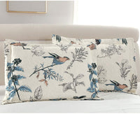 VITALE Pair of Pillow Shams Standard Quilted Pillowcases Vintage Birds Floral Printed Queen Size Pillow Covers-Blue Cream