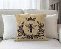 Moslion Throw Pillow Cover Bee 18x18 Inch Vintage Queen Bees Retro Crown Floral Ear Bowknot Black Square Pillow Case Cushion Cover for Home Car Decorative Cotton Linen