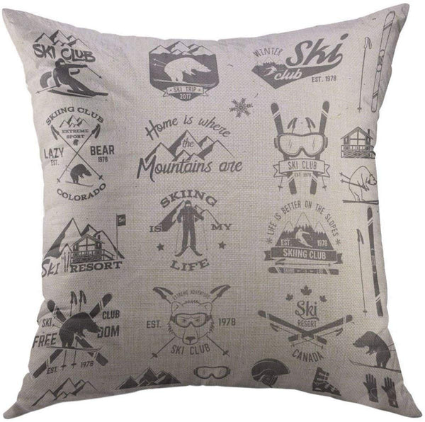 Mugod Decorative Throw Pillow Cover for Couch Sofa,Vintage Snowboard Ski Club Design Retro Badge for Seal Stamp Stock Family Vacation Activity Travel Skier Home Decor Pillow Case 18x18 Inch