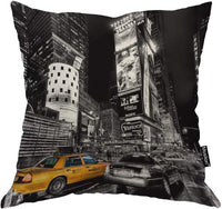 "Moslion New York Pillow Decorative Throw Pillow Cover Vintage New York City Satin Square Cushion Cover Standard Pillow Cases for Men Women Boys Girls Home Sofa Bedroom Livingroom 18""x18"",Black Yellow"
