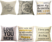 WUWE Cotton Linen Square Vintage Throw Pillow Case Shell Decorative Cushion Cover Pillowcase LOVE series (pack of six)