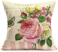 Asamour Set of 4 Bicycle Flowers Pillow Covers Rustic Floral Blossom Farmhouse Decor Throw Pillow Case Vintage Colorful Bike Cushion Cover for Outdoor Patio 18 x 18 Inch Spring Summer Home Decoration