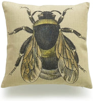 "Hofdeco Decorative Throw Pillow Cover HEAVY WEIGHT Cotton Linen French Country Vintage Bee on Yellow Dots 18""x18"" 45cm x 45cm"