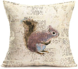 Aremetop Vintage Animal Throw Pillow Covers Wild Animals Black Bear Fox Owl Hamster Cotton Linen Square Decorative Cushion Covers with Rustic Lettering Pillowcases Cushion Case 18''x18'' Set of 4