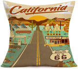 "Fukeen Set of 4 Cotton Linen Throw Pillow Covers Vintage American California Route 66 Signs Board Pillow Cases with Motorcycle Car Map Office Home Decorative Cushion Cover 18""x18"" (Mother Road)"
