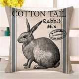 "Faromily Vintage Farmhouse Bunny Throw Pillow Covers Retro Farm Rabbit Feed Home Décor Cotton Linen Throw Pillow Case Cushion Cover 18"" X 18"" Set of 2 (Vintage Rabbit)"