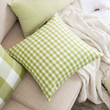 MIULEE Pack of 4 Decorative Throw Pillow Covers Cotton Stripe Checker Plaids Pattern Classic Retro Pillow Case Vintage Green Square Cushion Cover Farmhouse Decor for Sofa Bedroom Car 18 x 18 Inch