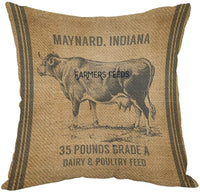 Moslion Vintage Cow Feed Sack Pillow,Home Decorative Throw Pillow Cover Cotton Linen Cushion for Couch/Sofa/Bedroom/Livingroom/Kitchen/Car 18 x 18 inch Square Pillow case
