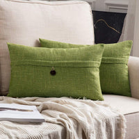 MIULEE Set of 2 Decorative Linen Throw Pillow Covers Cushion Case Button Vintage Farmhouse Pillowcase for Couch Sofa Bed 12 x 20 Inch 30 x 50 cm Green