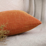 MIULEE Decorative Lumbar Throw Pillow Covers Farmhouse Style Linen Cushion Cases Vintage Decor Orange Pillow Cases for Couch Sofa Bedroom Car 12 x 20 Inch 30 x 50 cm