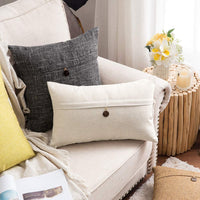 MIULEE Decorative Linen Throw Pillow Covers Cushion Case Button Vintage Farmhouse Pillowcase for Couch Sofa Bed 12 x 20 Inch 30 x 50 cm Beige