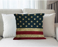 Moslion American Flag Pillow,Home Decorative Throw Pillow Cover Vintage USA Flag Burlap Cotton Linen Cushion for Couch/Sofa/Bedroom/Livingroom/Kitchen/Car 18 x 18 inch Square Pillow case