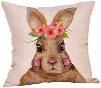 4 Pack Hello Spring Quotes Floral Wreath Decorative Pillow Covers Vintage Truck Bicycle Loads of Fresh Flowers Easter Bunny Throw Pillow Case Cotton Linen 18x18 Inch Farmhouse Spring Home Decor