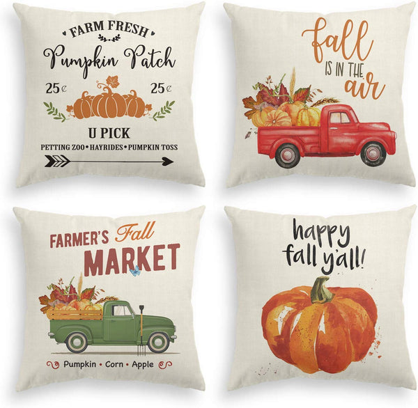 AVOIN Fall Rustic Throw Pillow Cover Watercolor Pumpkin Patch Truck Pick Up, 18 x 18 Inch Autumn Thanksgiving Harvest Vintage Farmhouse Linen Cushion Case for Sofa Couch Set of 4