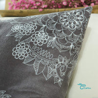 CaliTime Pack of 2 Cozy Throw Pillow Cases Covers for Couch Bed Sofa Manual Hand Painted Print Vintage Mandala Floral 18 X 18 Inches Dark Grey