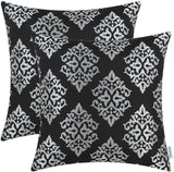 CaliTime Pack of 2 Soft Jacquard Throw Pillow Covers Cases for Couch Sofa Home Decoration Vintage Diamond Shape Damask Floral 18 X 18 Inches Black