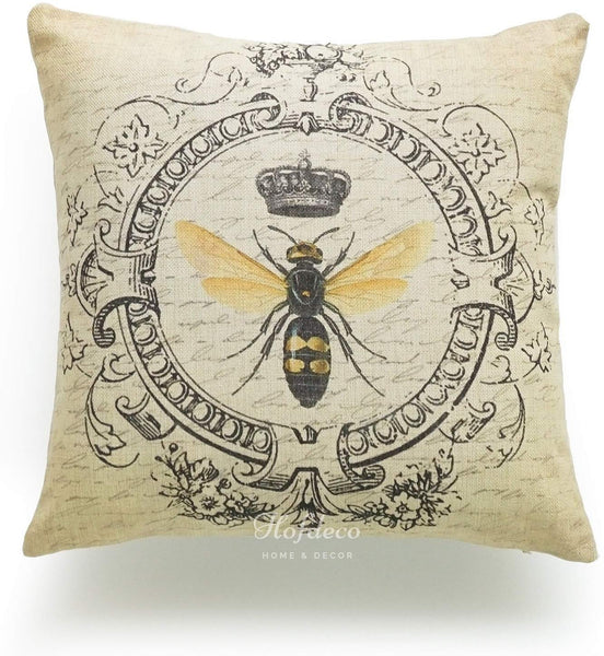 "Hofdeco Decorative Throw Pillow Cover HEAVY WEIGHT Cotton Linen French Country Modern Vintage Queen Bee on Yellow Dots 18""x18"" 45cm x 45cm Set of 2"
